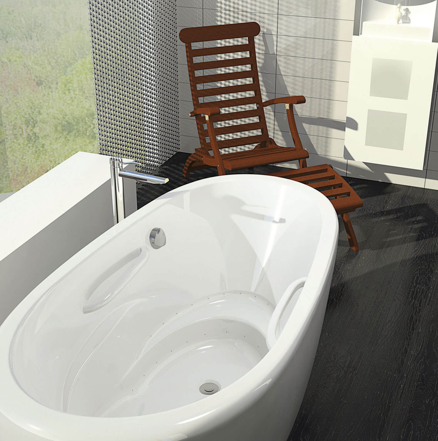 Bainultra Essencia® Oval 7236 freestanding air jet bathtub for your modern bathroom
