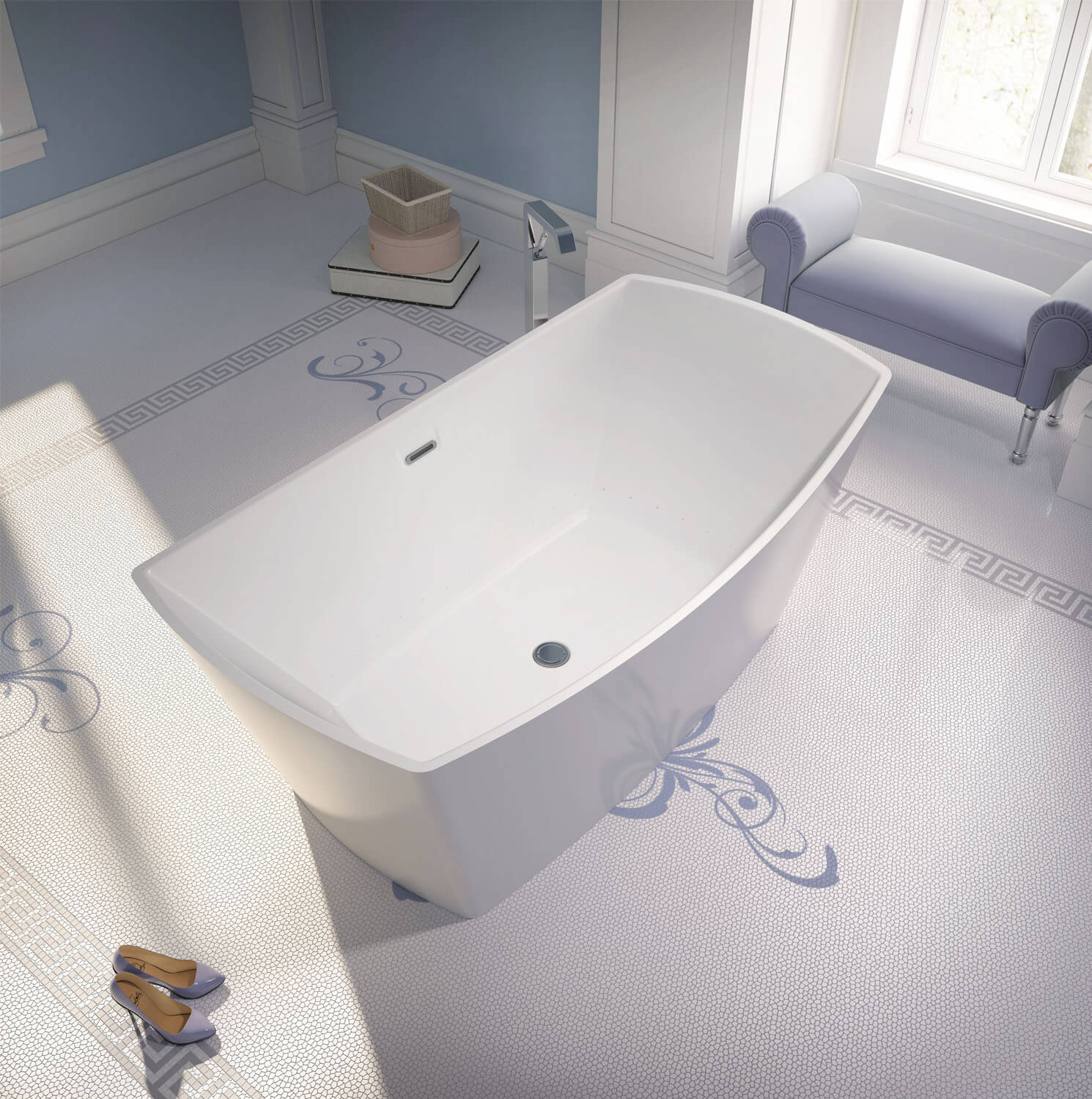 Bainultra Evanescence® 6634 two person freestanding air jet bathtub for your modern bathroom