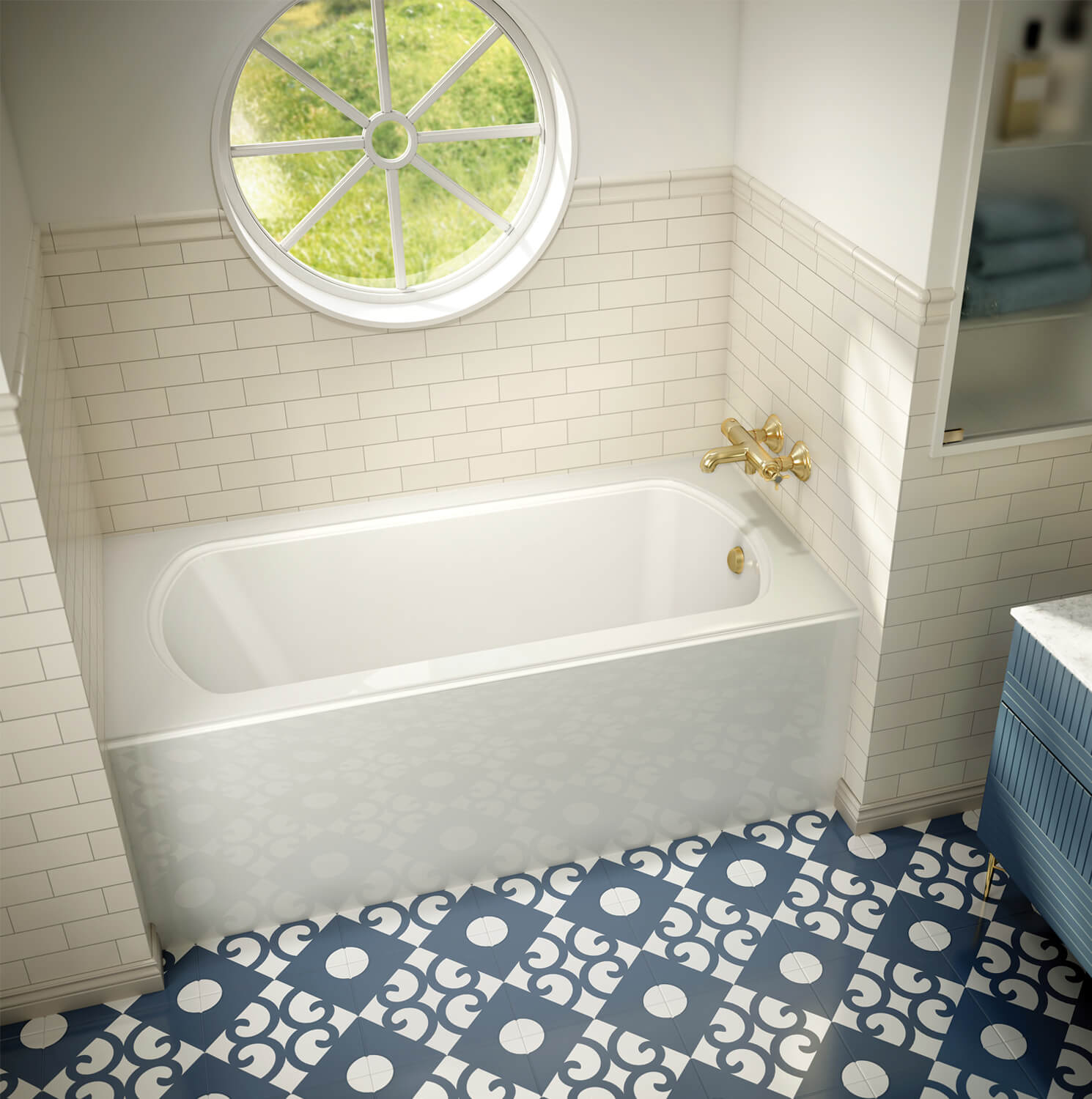 Bainultra Meridian® UNO alcove air jet bathtub for your modern bathroom