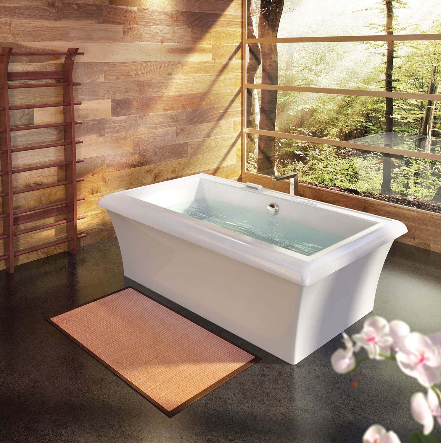 Bainultra Origami® 7242 Design Series two person large freestanding air jet bathtub for your modern bathroom