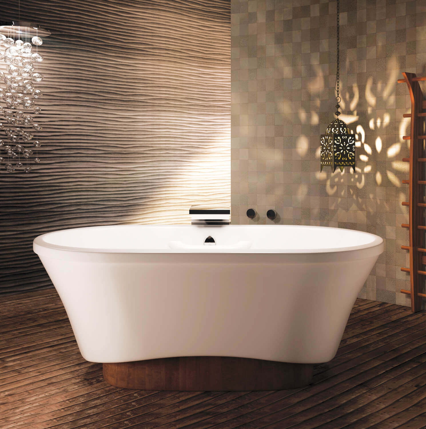 Bainultra Amma® OVAL 7242 freestanding pedestal air jet bathtub for two