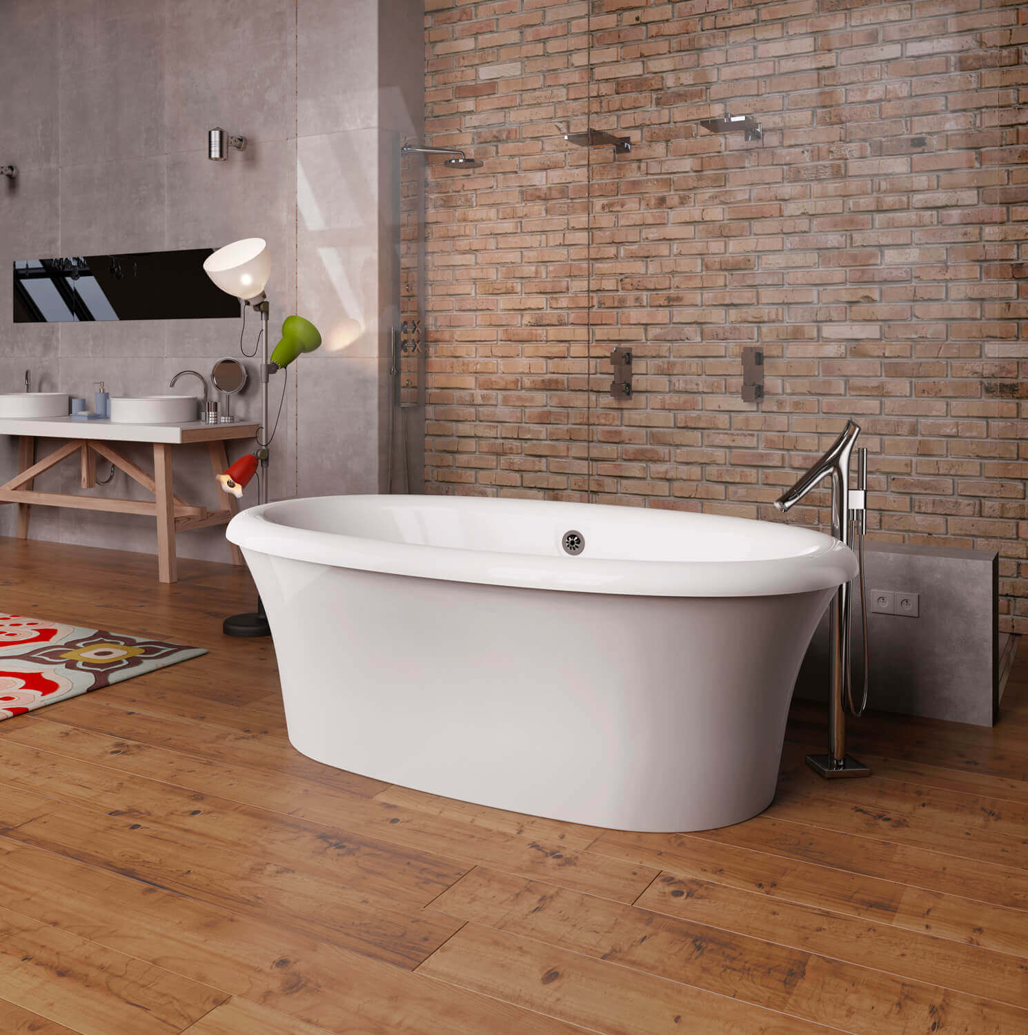 Bainultra Sanos 7240 two person large freestanding air jet bathtub for your modern bathroom
