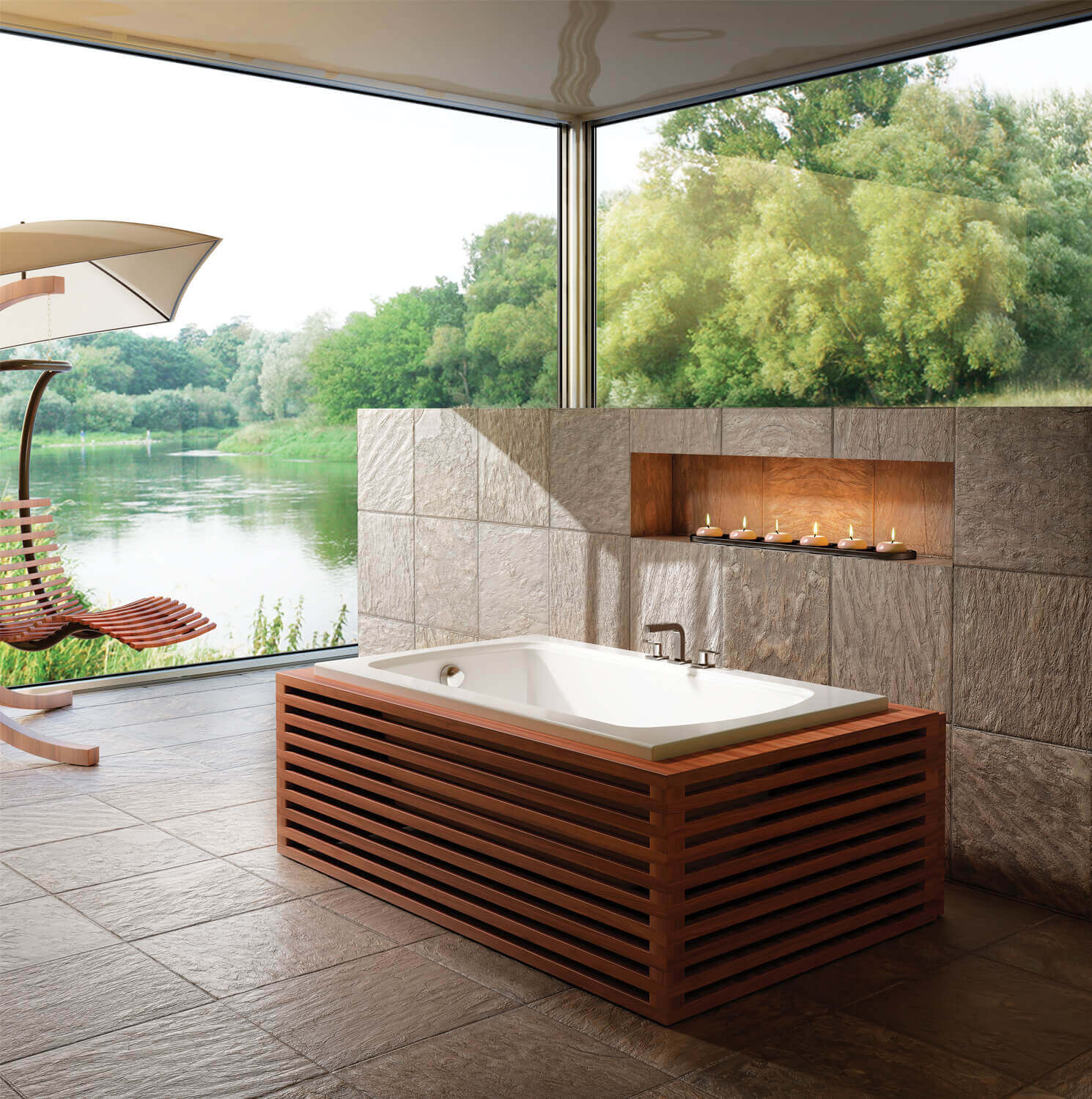 Bainultra Meridian® 50 alcove drop-in air jet bathtub for your modern bathroom