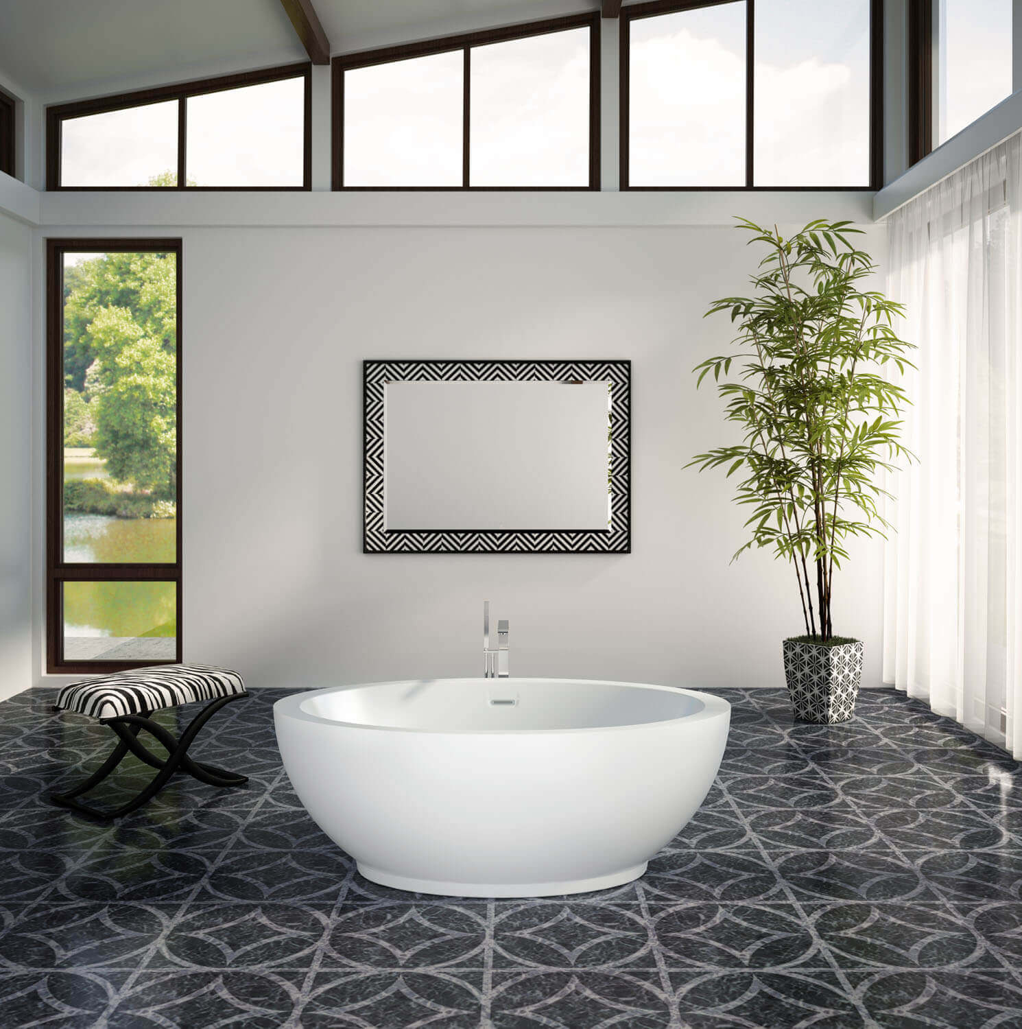 OPALIA 6839 Centered Ellipse air jet bathtub for your modern bathroom