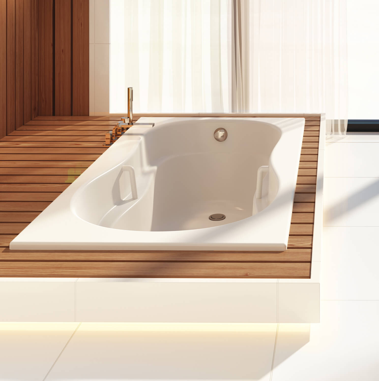 Bainultra Azur 60 collection alcove drop-in air jet bathtub for your master bathroom