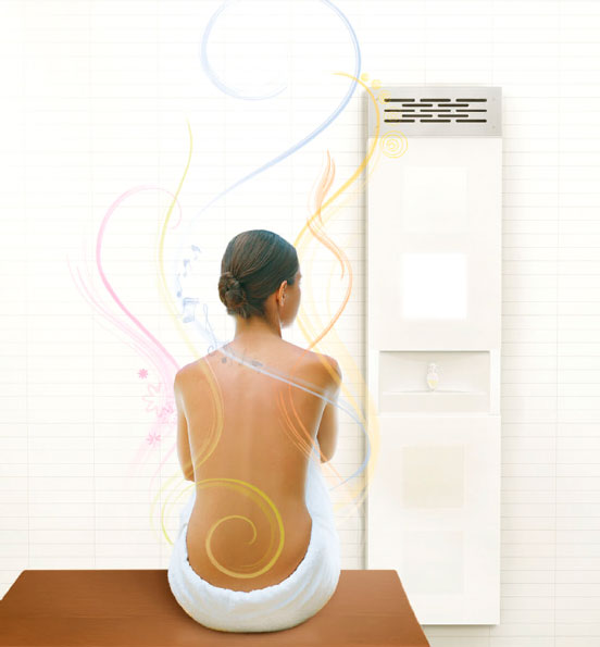 Vedana grouping five therapies. The treatment unit invites the transformation of the bathroom - utility space.